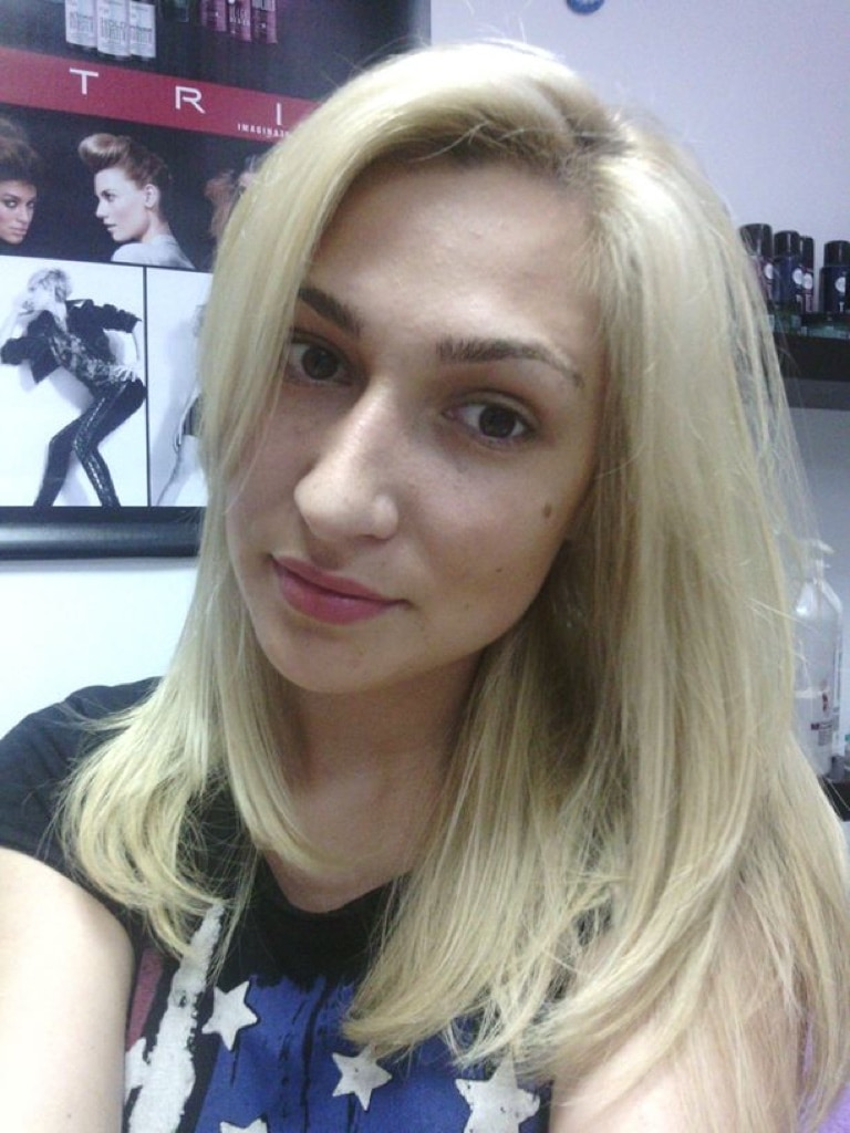 Girl with Blond straight hair