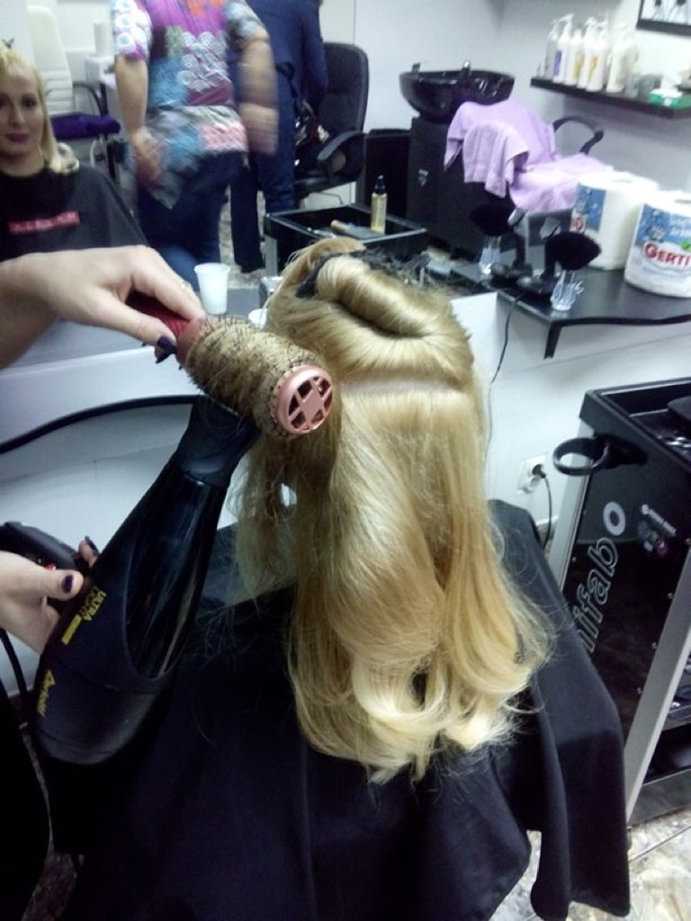 Blond Hair Styling with Dryer