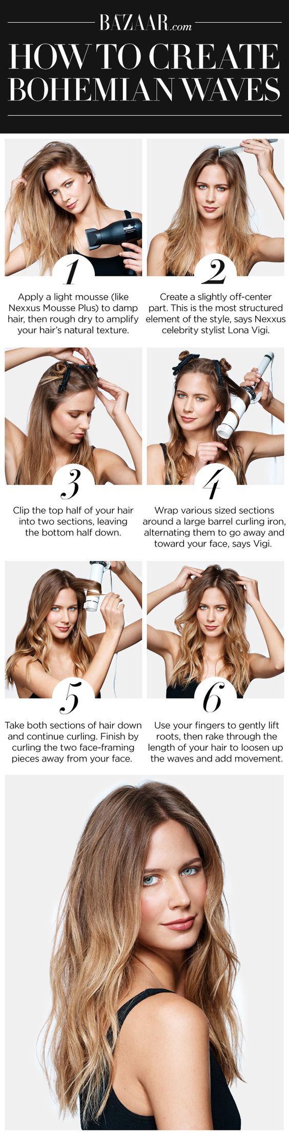 How to get wavy hair with a curling iron
