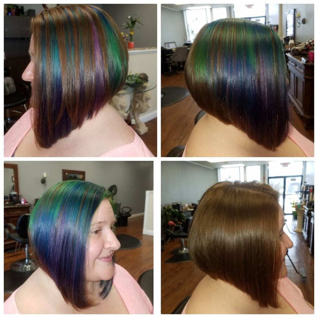 The Oil-Slick effect on short hair– Before and After