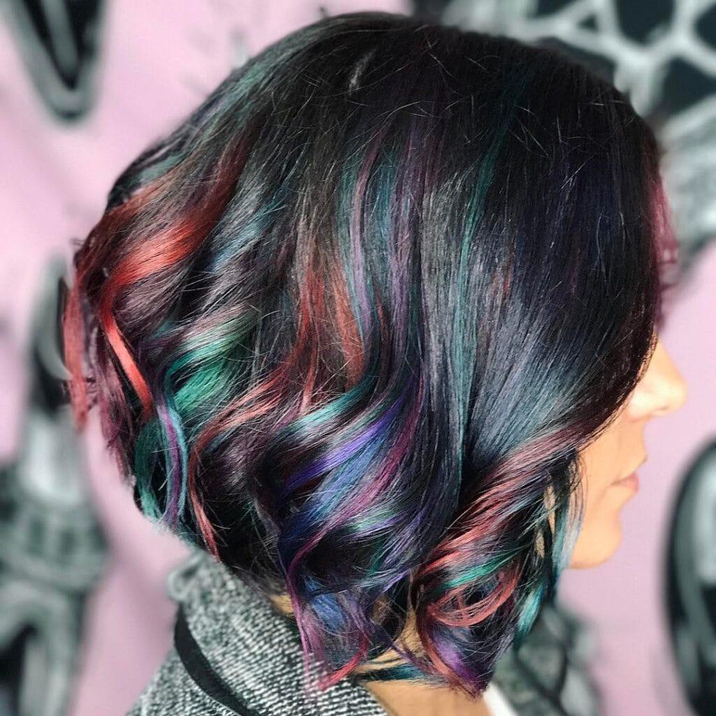 Oil-Slick Colours Medium Dark Hair with curls Rainbow-Effect