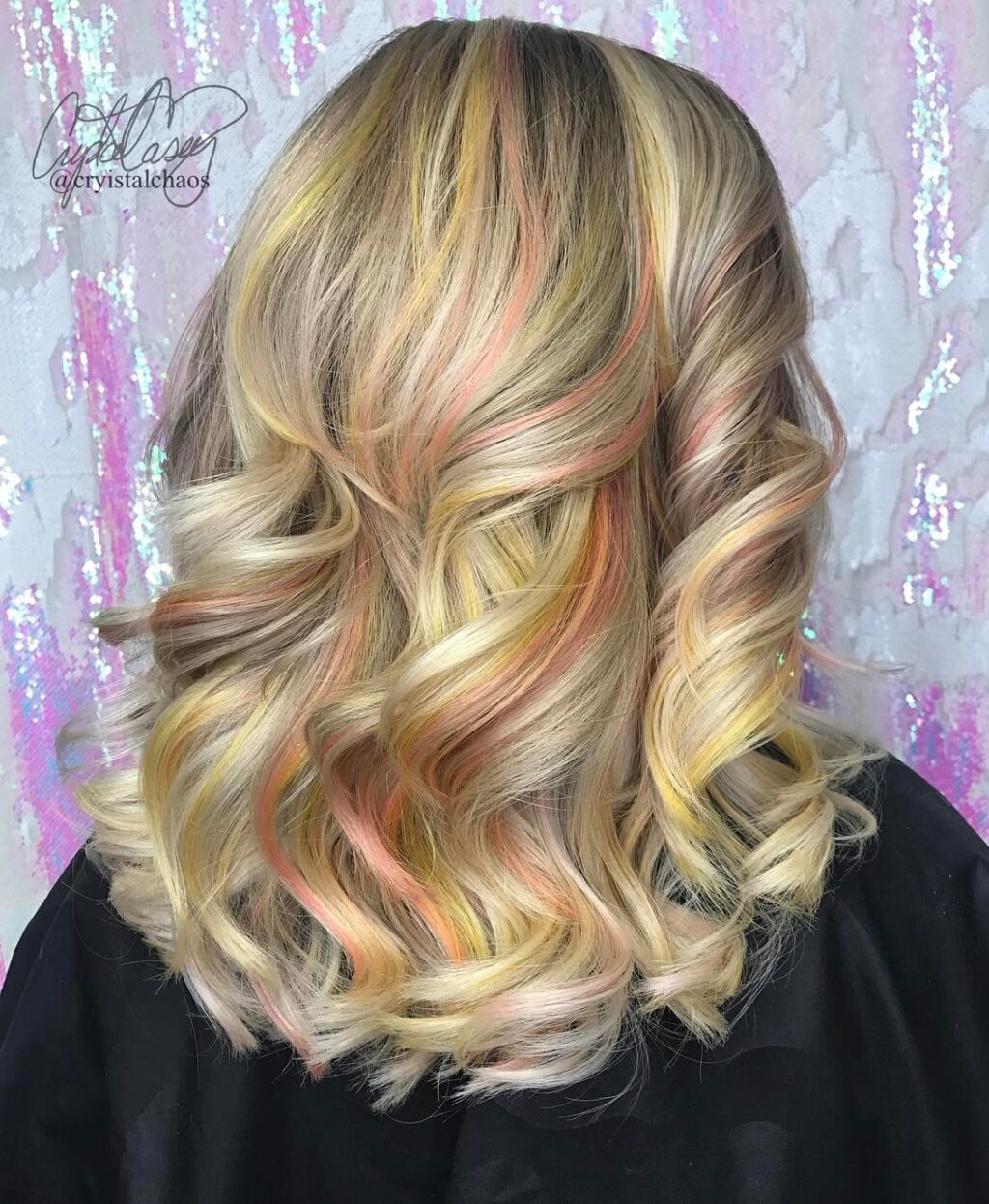 Blonde oil slick hair