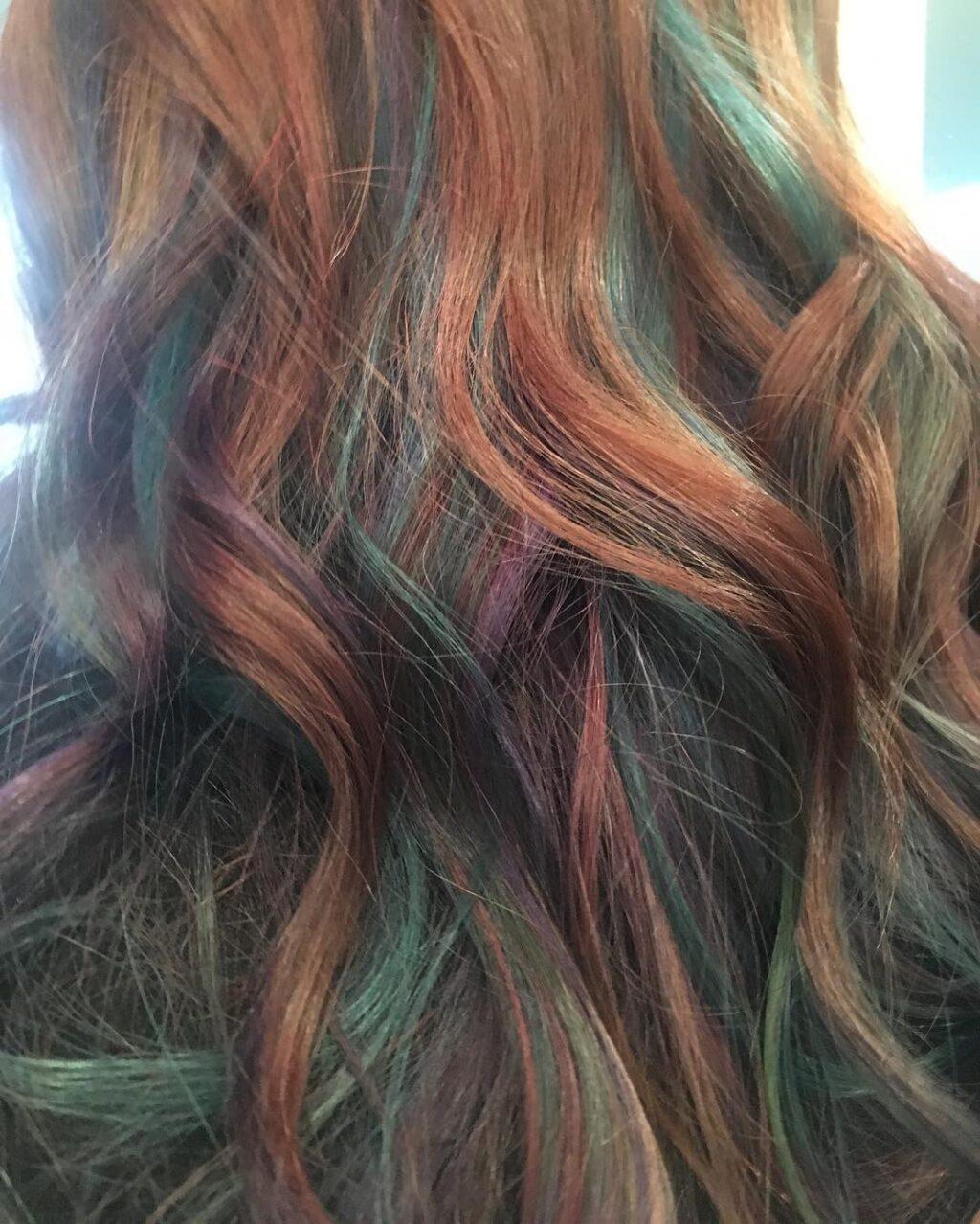 Oil slick hair redhead
