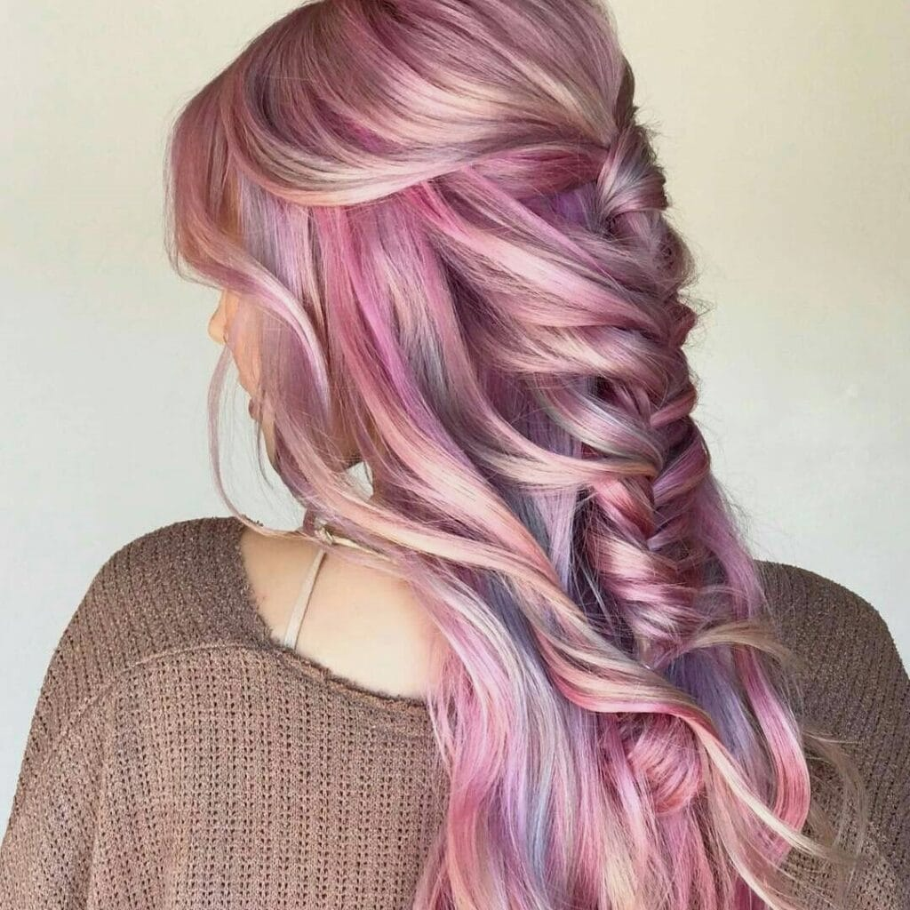 Strawberry blonde oil slick hair