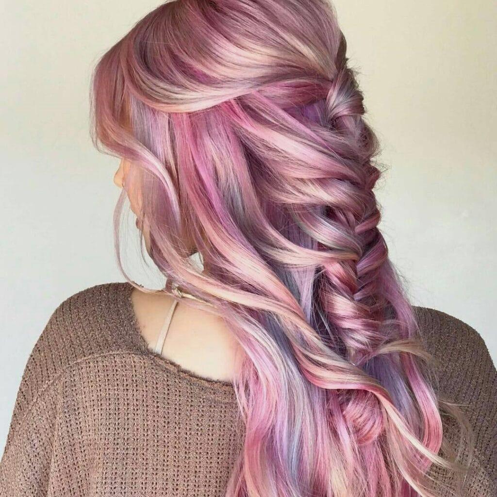 Strawberry blonde oil slick hair